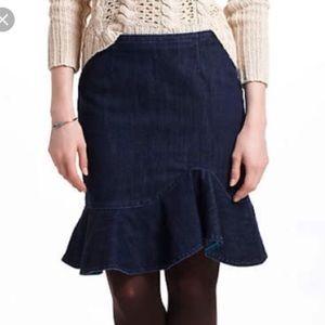 Anthropologie Leifsdottir Ruffled Jeans Skirt